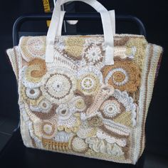 Freeform crochet bag started in California USA and completed in Reading UK