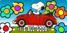 It's All Good - Snoopy and Woodstock Riding in a Red Car Surrounded by Flowers Peanuts Cartoon, Peanuts Snoopy, Snoopy Cartoon, Snoopy Love, Snoopy And Woodstock, Peanuts Characters, Cartoon Characters, Luau, Snoopy Pictures