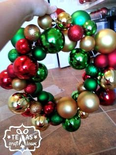 This is BY FAR the easiest way to make an ornament wreath. I tried making one earlier in the week with glass ornaments and hot glue and let me just say… that was a big, giant nightmare. Make …