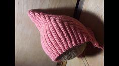 Модная детская шапочка спицами,  как связать?  Урок по вязанию.  (Pixieh...