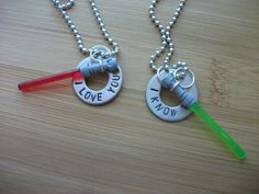 Star Wars inspired I love you - I know necklace - 2 necklaces / 2 lightsabers hand stamped. $16.00, via Etsy.