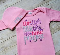 For this little girl we have prayed. You choose colors. Baby gift. Baby shower gift. New baby. Coming home outfit. by…