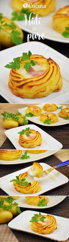 I nidi di #purè con #prosciutto e #mozzarella sono degli #antipasti originali, molto eleganti e versatili. Ecco la #videoricetta
