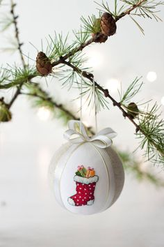 Christmas ornament hand embroidered with cross stitch by RedPin