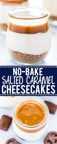 These Gluten Free Individual No-Bake Salted Caramel Cheesecakes make a great dessert for a smaller dinner party or family dessert. They're really easy to make and are full of salted caramel flavor! Top them with whipped cream and Heath Bars or chocolate covered pretzels! @whattheforkfoodblog | whattheforkfoodblog.com | Sponsored | easy gluten free desserts | no-bake cheesecake | no-bake dessert recipes #nobake #glutenfree #glutenfreerecipes #easyrecipes #saltedcaramel #dessert #cheesecake