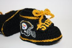 Pittsburgh Steeler Style Booties  Handmade by anniekscreations, $18.00
