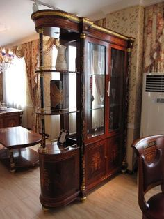 Cherry/glass Double Faced Curio Cabinet
