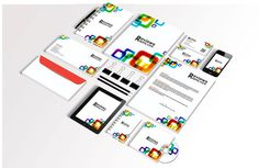 White corporate identity template with color elements free