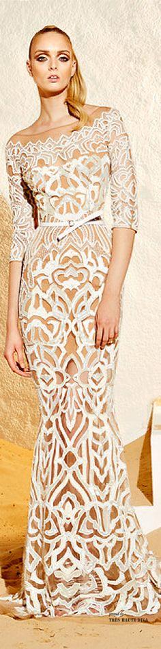 Zuhair Murad Resort 2015 - laser cut detailing, architecture inspired