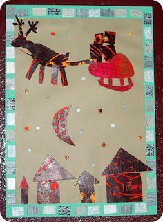 Mickaëlle Delamé: projet peinture de Noël: carte à gratter