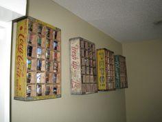 Vintage soda crate shot glass storage display
