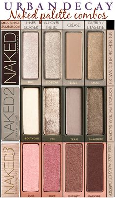 Eye looks with the Urban Decay Naked palettes. Eye looks with the Urban Decay Naked palettes. Paleta Urban Decay, Urban Decay Palette, Naked Palette, Naked2 Palette Looks, Urban Decay Dupes, Urban Decay 2, Urban Decay Basics, Make Up Palette, Kiss Makeup