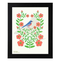 Birds and Blooms Art - Individual States | geography, state bird, state flower, wall art | UncommonGoods