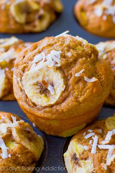 Lightened-up muffins with bananas, pineapple, orange zest, yogurt, whole wheat flour, and coconut. Easy, moist, low-fat, healthy muffins!