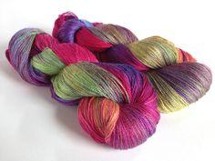 Zorya Pure Silk  Lace. Summer Rainbow. by SolsticeYarns on Etsy. 100% silk. Stunning yarn.