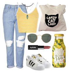 """🍋"" by burcaak ❤ liked on Polyvore featuring Topshop, Glamorous, adidas Originals, Ray-Ban, StreetStyle, cute, cool and yellow"