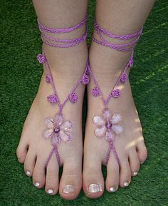 purple crocheted barefoot sandals