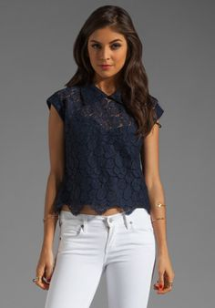 MILLY Begonia Scallop Lace Walker Cropped Top in Navy