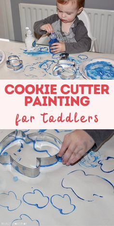 Cookie cutting painting for toddlers. Cookie cutter art. Winter craft for toddlers. Winter Crafts For Toddlers, Toddler Arts And Crafts, Toddler Art Projects, Cool Art Projects, Easy Crafts For Kids, Art For Kids, Art Activities For Kids, Preschool Activities, Activity Ideas