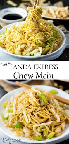 Copycat Panda Express Chow Mein tastes just like the restaurant version and is quick and easy to make right at home. In just 20 minutes you can enjoy this restaurant classic. Add seared shrimp, chicken, or beef to make it a protein-packed meal! Top Recipes, Asian Recipes, Dinner Recipes, Cooking Recipes, Ethnic Recipes, Fondue Recipes, Simple Recipes, Panda Express Chow Mein, Panda Express Recipes