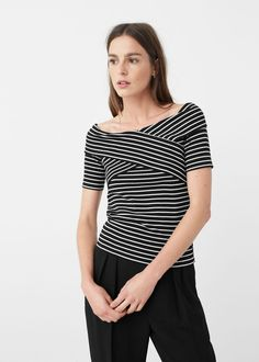 Striped cotton t-shirt - T-shirts for Woman | MNG Australia