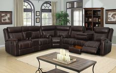 3 pc Rummy collection mocha leather air upholstery with recliner ends sectional sofa. This set includes the Sofa with drop down arm in the center with cup holders on the back, Love seat with center console and storage, corner wedge. Contemporary Living Room Sets, Leather Sectional Living Room, Brown Living Room, Living Room Sets, Leather Sectional Sofas, Brown Living Room Decor, Living Room Sectional, Leather Sofa Living Room, Reclining Sectional