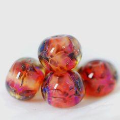 Lampwork borosilicate  glass beads set. Boro beads.   Frozen rose etsy.com/shop/Juliyamrboro