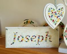 Personalised name plaque Joseph - broken china mosaic