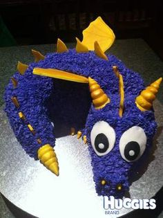 Spyro cake for Skylander party. How cute!