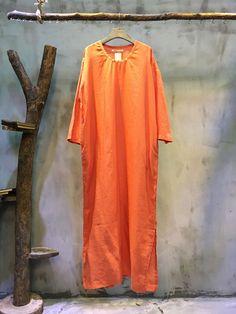 Mori Girl Side Slit Loose Linen Dress Plain Cheap Dress #dress #fashion #orange #long #loose #plussize #amazing #linen