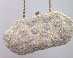 Vintage Ivory Pearl Beaded Evening Bag  Richere by AGoddessDivine