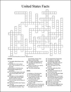 State Facts Crossword Puzzle – Free Social Studies and Geography Printable – Come Back to School Fill In Puzzles, 3d Puzzles, Free Printable Crossword Puzzles, Contexto Social, History Classroom, History Education, Teaching Social Studies, Word Games, Fun Games