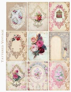 Antique Tags ATC Instant Download no.188 Antique Wallpaper Collage Sheet Tattered Vintage 188. $4.00, via Etsy.