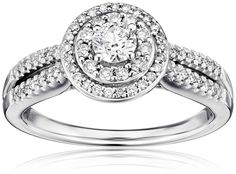 14k White Gold Round Cut Centre Stone Diamond Bridal Engagement Ring (3/4cttw, I-J Color, I1-I2 Clarity), Size 8