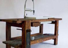 Banco de carpintero como mesada de cocina