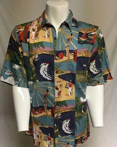 0ef665734 Reyn Spooner Medium Beach Sun Planes Short Sleeve Button Front Hawaiian  Shirt  ReynSpooner  Hawaiian