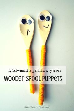 Best Toys 4 Toddlers - Child-made wooden spool puppets as a way to practice fine motor skills Toddler Preschool, Toddler Crafts, Crafts For Kids, Infant Activities, Preschool Activities, Wooden Puppet, Creative Arts And Crafts, Wooden Spools, Kindergarten Art