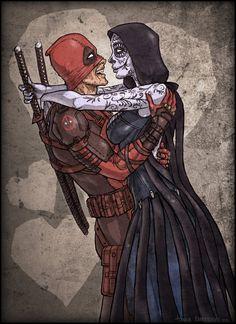 #Deadpool #Fan #Art. (Till Death Bring Us Together) By: TheTwiggyDance. (THE * 5 * STÅR * ÅWARD * OF: * AW YEAH, IT'S MAJOR ÅWESOMENESS!!!™) [THANK U 4 PINNING!!!<·><]<©>ÅÅÅ+(OB4E)    https://s-media-cache-ak0.pinimg.com/474x/8e/d5/fe/8ed5fe071a86909dc23a221dff47b93c.jpg