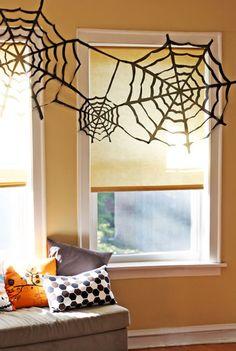 How-To: Trash Bag Spider Web Halloween Decor