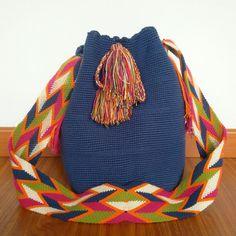 Buy your beautiful, unique Wayuu mochila bag now from How to Bogotá's online shop!  Find your perfect Summer bag :) Wayuu Mochila - Summer bag - Tribal Bag - Boho Bag - Beach Bag - blue