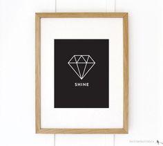 SHINE // Black & White Print, by Flutter Flutter Studio