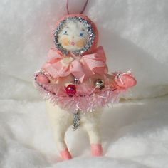 Spun cotton Feather tree pink Snow baby ornament. Vintage Christmas craft by jejeMae