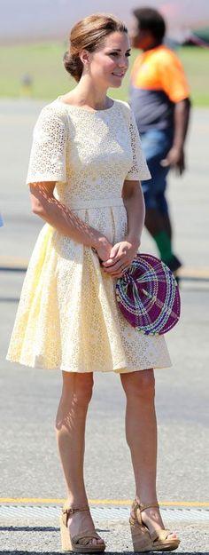 Kate Middleton in a yellow eyelet dress. Solomon Islands, September 2012.