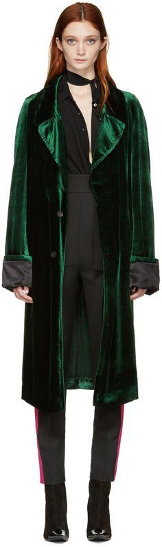 2120€ Haider Ackermann - Manteau long en velours vert