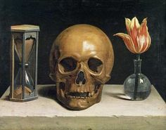 """""""Memento mori"""" - remember that you have to die.   Essential to fully live.   Still Life with a Skull by Philippe de Champaigne, 1671. The three essentials of existence: life, death, and time."""