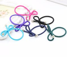 Simple Solid Colors Rubber Band Knotted Golden Beads Girls Elastic Hair Bands Women Hair Accessories Headwear