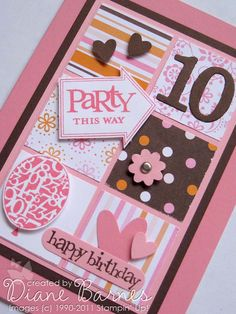 scrap birthday card with Party this Way  - colour me happy