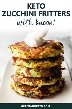 Savory keto zucchini fritters are easy to make and packed with veggies and bacon. They're a delicious low-carb side dish or keto appetizer with sour cream or homemade ranch dressing. Zucchini Fritters, Low Carb Appetizers, Appetizer Recipes, Soup Appetizers, Zucchini Appetizers, Soup Recipes, Vegetarian Recipes, Tuna Recipes, Vegetarian