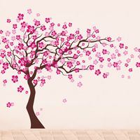 Popdecors Cherry Blossom Tree H) Beautiful Tree Wall Decals for Kids Rooms Teen Girls Boys Wallpaper Murals Sticker Wall Stickers Nursery Decor Nursery Decals, A Flowers go Right, Dark Brown hot & light pink Baby Room Decals, Nursery Wall Stickers, Kids Wall Decals, Vinyl Wall Art, 3d Wall, Cherry Blossom Tree, Blossom Trees, Cherry Tree, Pink Blossom