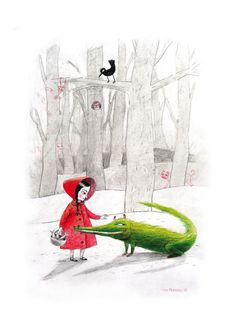 Little red riding hood and the crocodile-wolf in the mistery wood. By Marpez on Etsy.